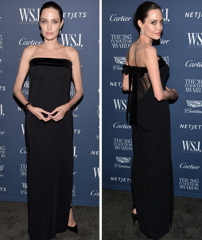 Angelina Jolie Looks Beautiful in Black at WSJ Innovator Awards -- Wait Until You See the Sexy Sheer Back!