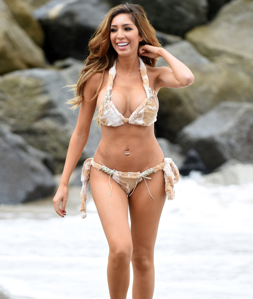 Farrah Abraham Flaunts Third Boob Job In Barely-There Fur Bikini