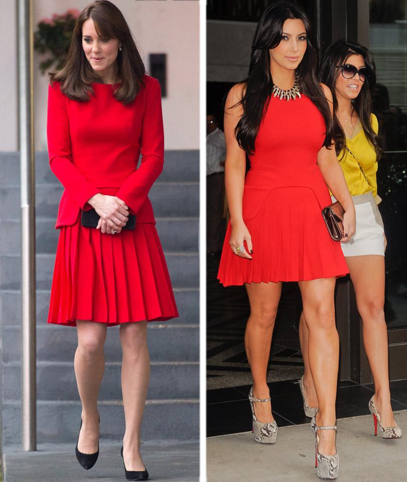 Kate Middleton Rocks Same Red Dress as Kim Kardashian ...