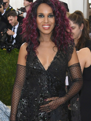Kerry Washington Cradles Baby Bump at the Met Gala -- While Sporting Magenta Hair!
