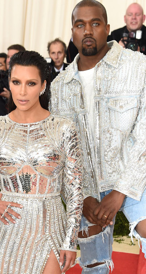 Kim Kardashian and Kanye West Coordinate in Silver Sequins -- Check Out His Creepy Contacts!