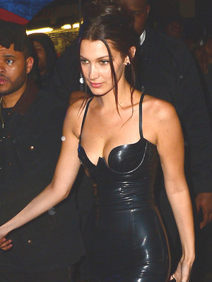 Bella Hadid Wears the Same Black Latex Dress as Kim Kardashian -- Who Wore It Better?!