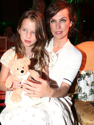 Milla Jovovich Brings Adorable Daughter Ever to Marc Cain Fashion Show