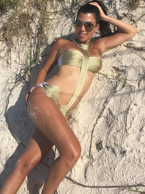 Kourtney Kardashian Sports Same Gold Monokini as Ciara -- Who Wore It Better?!