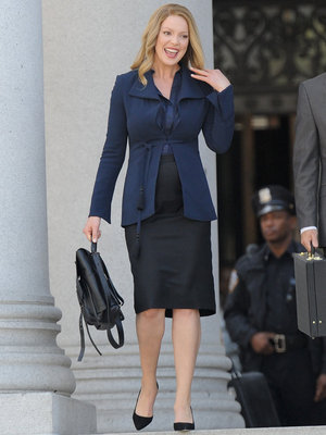 "She's Glowing! Katherine Heigl Debuts Baby Bump on ""Doubt"" Set"