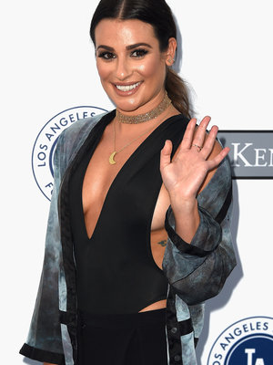 Lea Michele Flaunts Major Cleavage at Dodgers Event