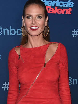 Heidi Klum Finally Gets It Right In a Red Hot Zipper Dress